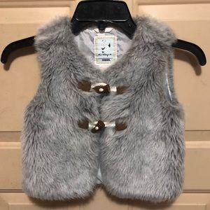 Gymboree Girl's Grey Faux Fur Vest